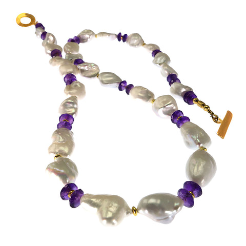 Gemjunky  Elegant Necklace of White Baroque Pearls and Amethyst Rondelles