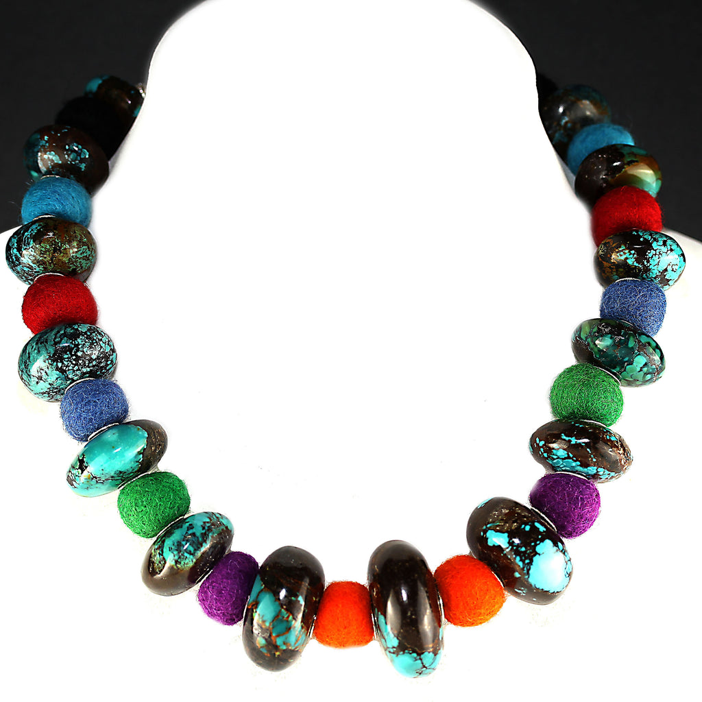 Gemjunky  19 Inch Graduated Turquoise Rondelles and Colorful Felted Wool Necklace