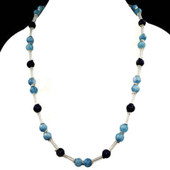 Gemjunky  Blue Aquamarine and Purple Charoite Lightweight Necklace