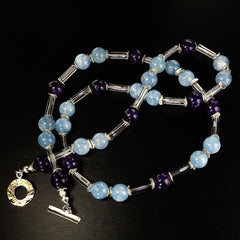 Blue Aquamarine and Purple Charoite Lightweight Necklace