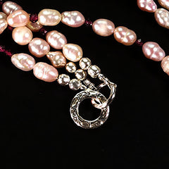 Gemjunky Three strand mauve Pearl and rhodolite Garnet necklace with Sterling Clasp