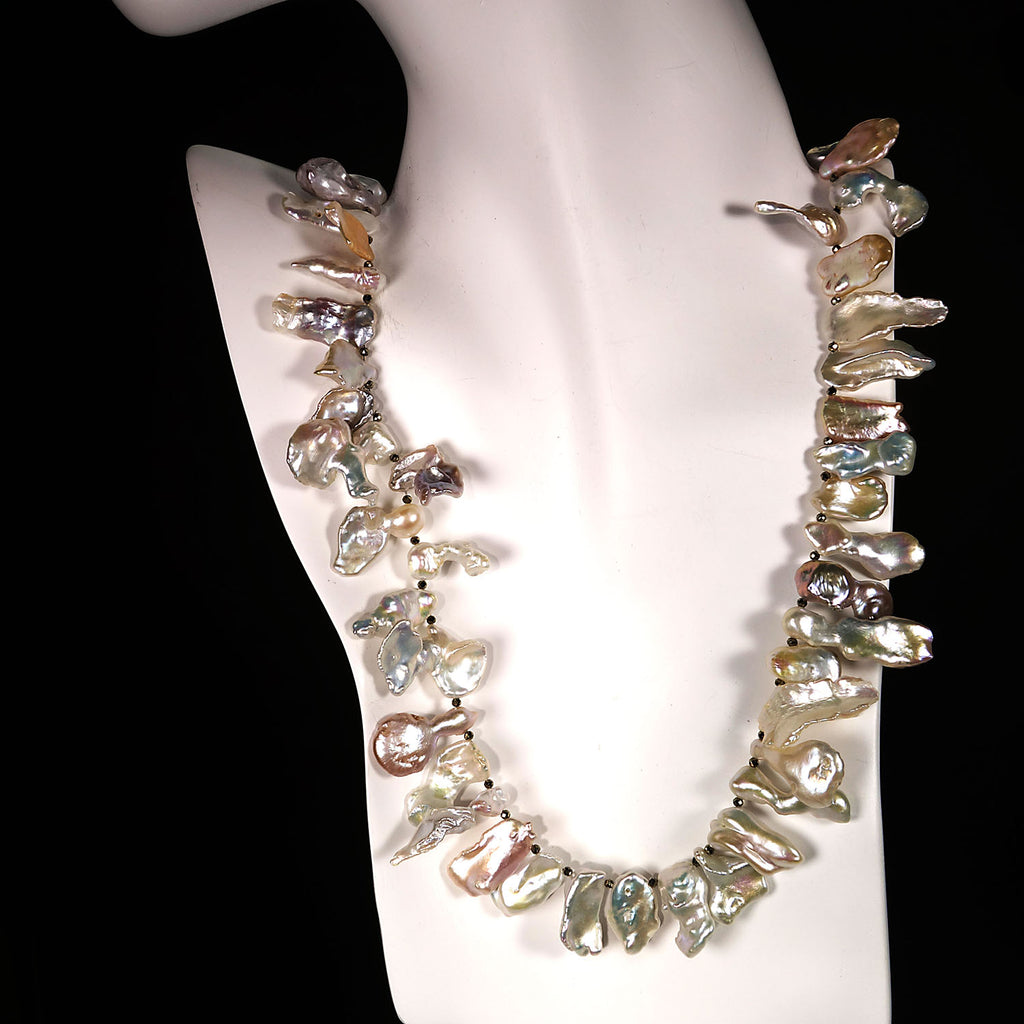 Gemjunky  Free form, Longish, White Iridescent Pearls Necklace
