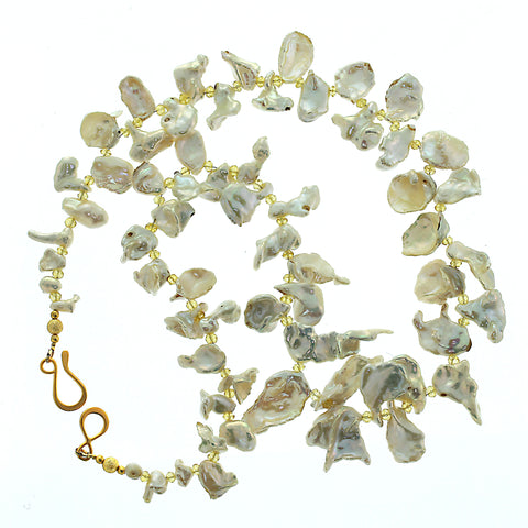 Gemjunky  Iridescent White Keshi Pearl Necklace with Citrine Accents