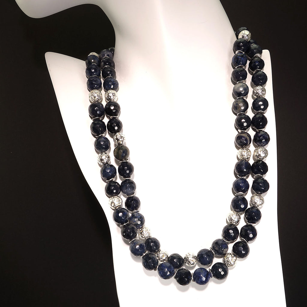 Faceted Blue Dumortierite With Silver Double Strand necklace