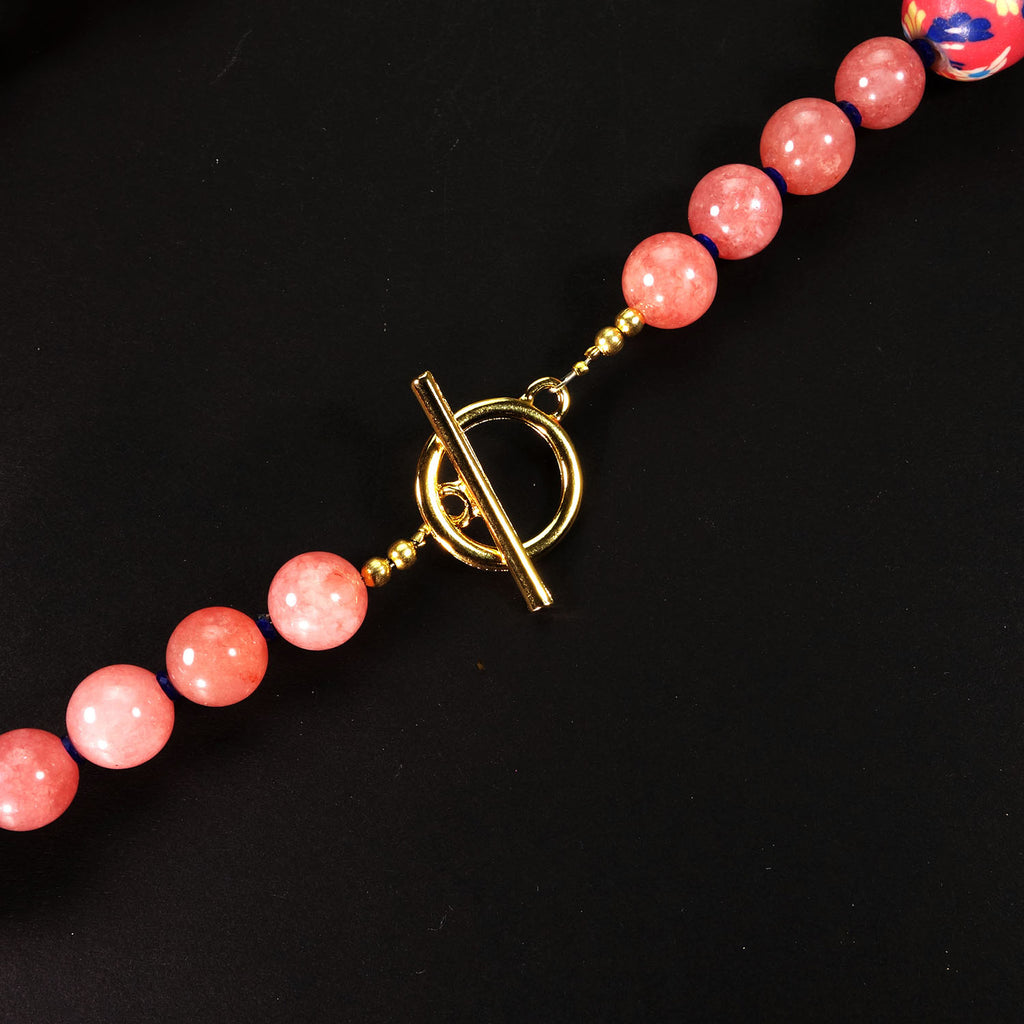 Springtime Necklace in Pink Agate and Fun Chinese Beads