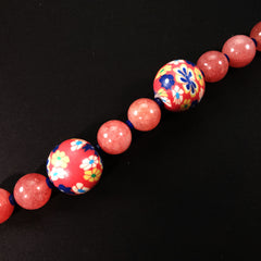 Gemjunky  Perfect Summer Necklace in Pink Agate and Fun Chinese Beads