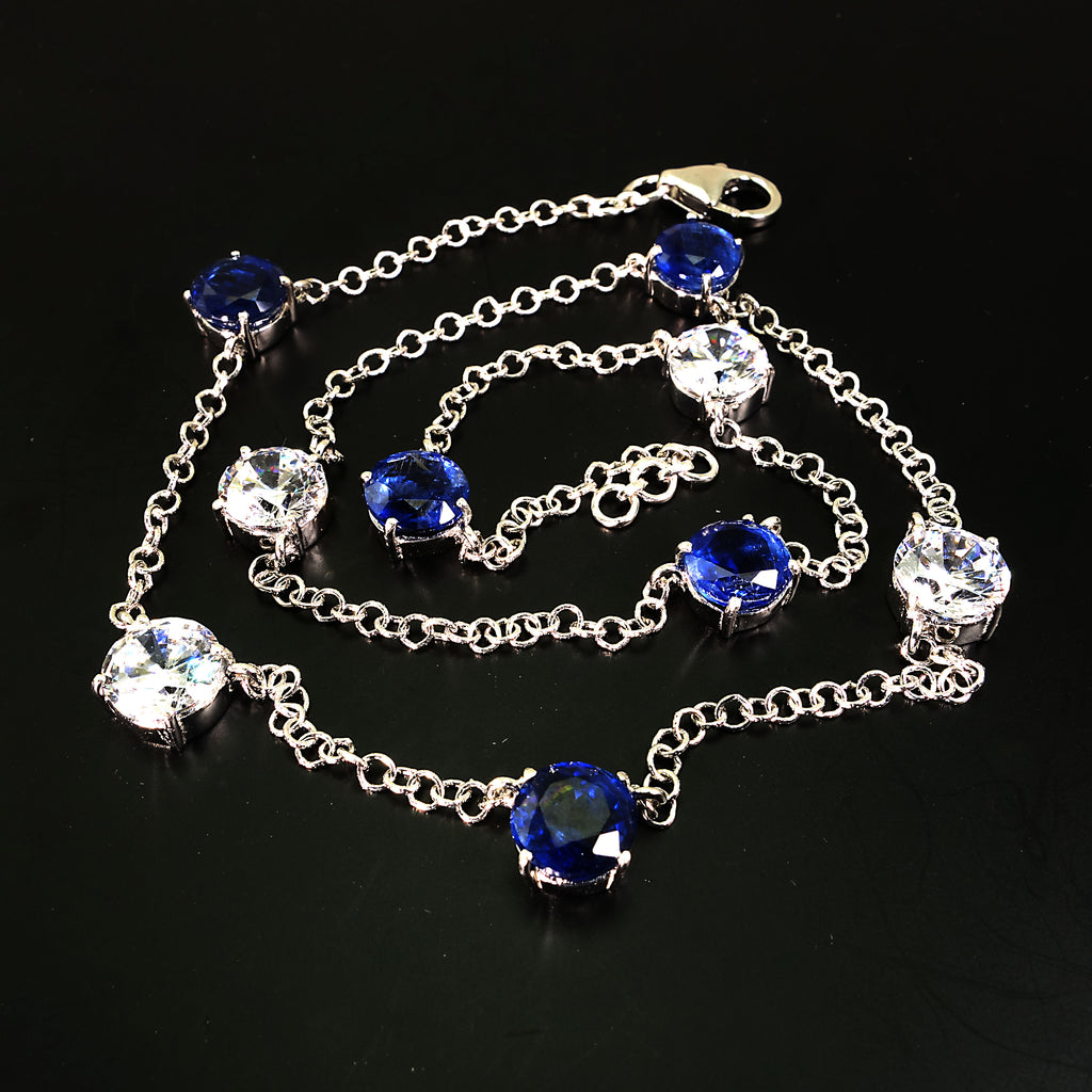 Gemjunky  17.5 Inch Elegant necklace of Sparkling Blue Kyanite and White Zircon Gemstones
