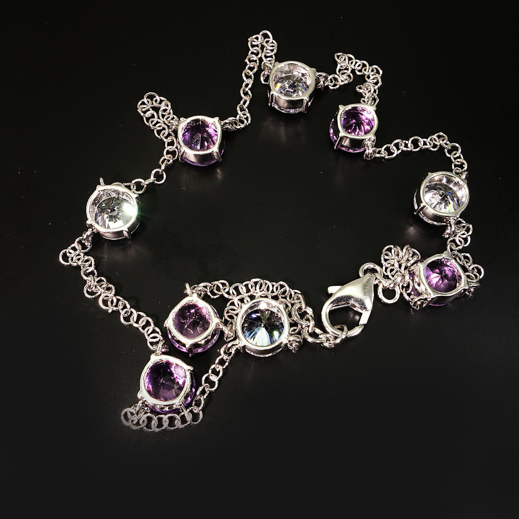 Elegant necklace of Amethyst and White Zircon gemstones