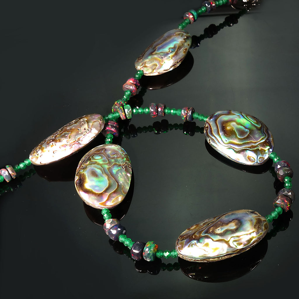 Gemjunky  Delicate Choker of Paua Shell, Black Opal, and Green Quartz