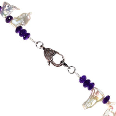 Gemjunky  Free form Freshwater Pearl and Amethyst Rondelle Necklace