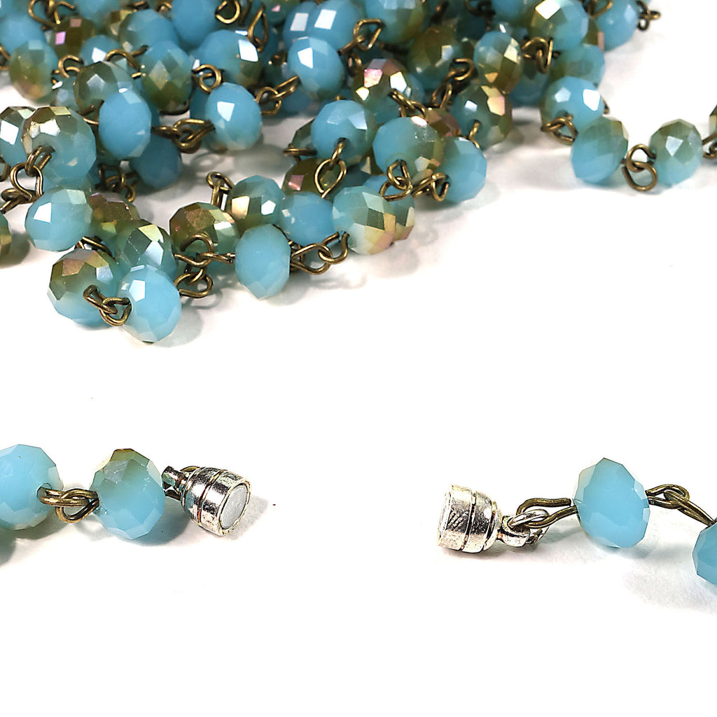 80 Inch Teal/bronzy Crystal Bead necklace