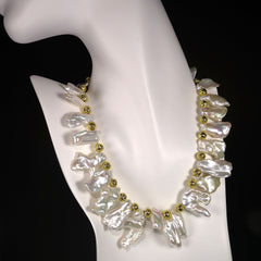 Gemjunky  White Free form Baroque Pearls with Gold Accents Choker Necklace