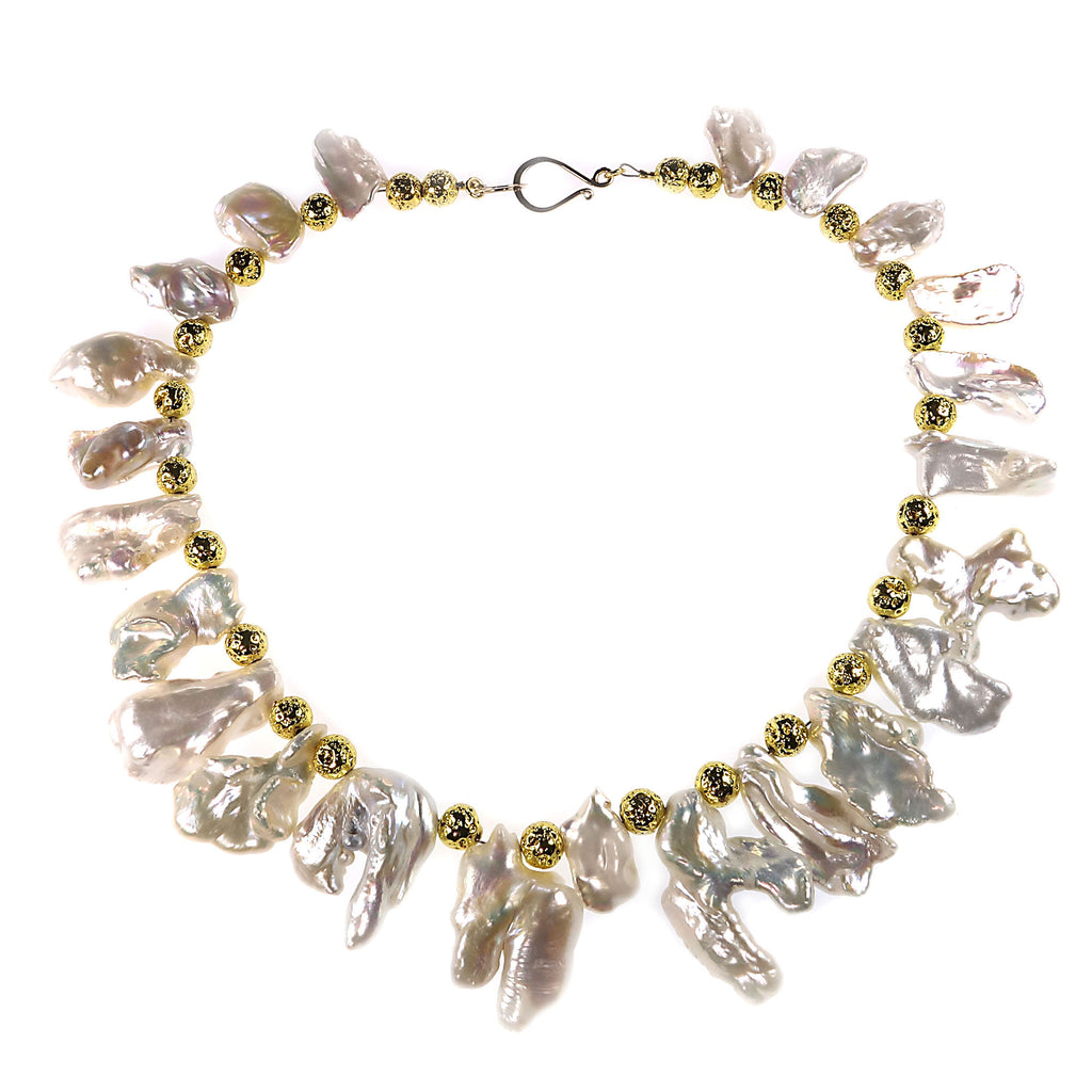 White Freeform Baroque Pearls with Gold Accents Choker Necklace