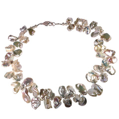 Gemjunky  White Iridescent Keshi Pearl Necklace