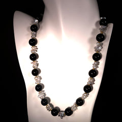 Elegant Black Onyx and White Pearl Necklace