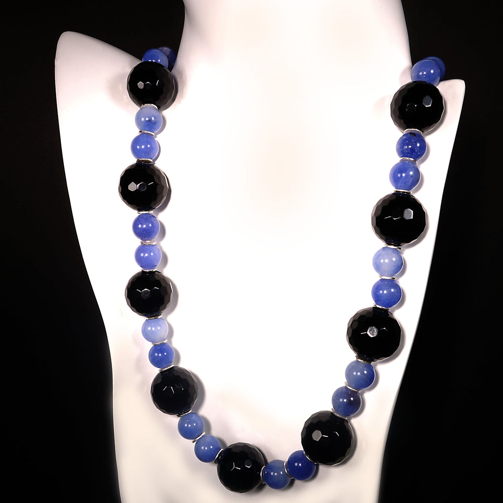 Elegant Black Onyx and Blue Agate Necklace