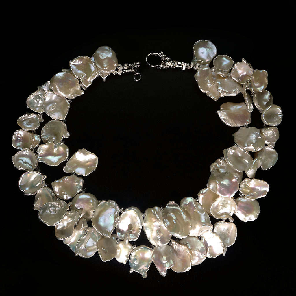 Gemjunky  Double strand, Iridescent, White Keshi Pearl Choker Necklace
