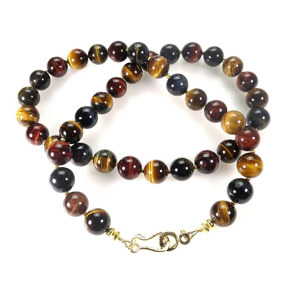 29 Inch Elegant Multi Color Tiger's Eye Necklace
