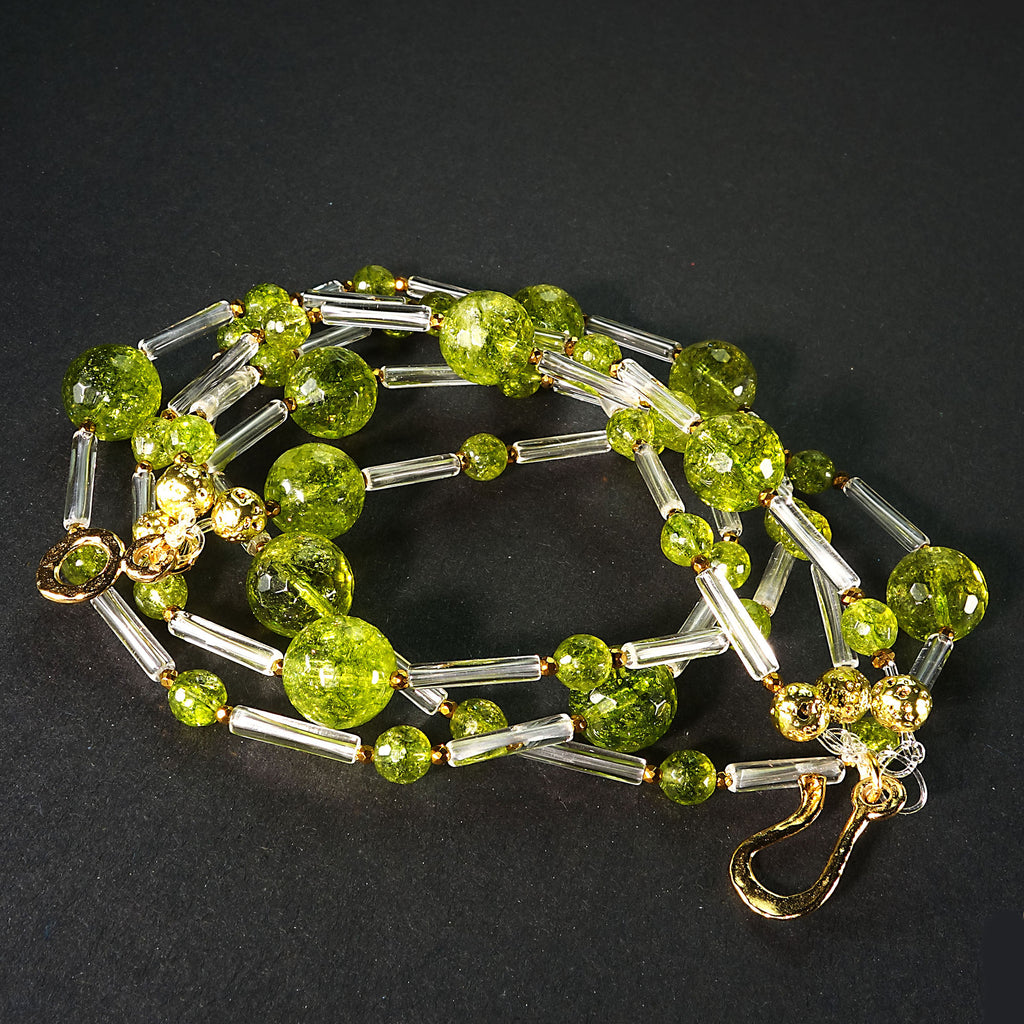 Unique Peridot and Crystal Three strand Necklace
