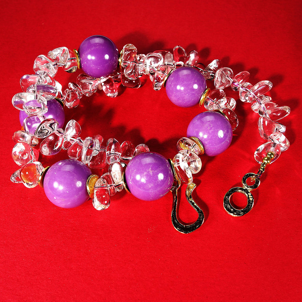 Gemjunky  Striking Necklace of Purple Phosphosiderite and Sparkling Crystal Nuggets