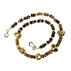 Gemjunky  Elegant Choker Necklace of Smoky Quartz and Golden Nuggets