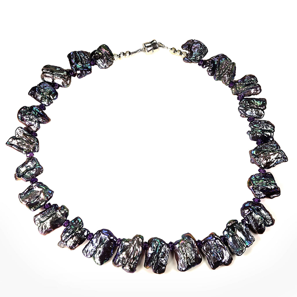Gemjunky  Choker Necklace of Peacock Pearl tablets and Amethyst Accents