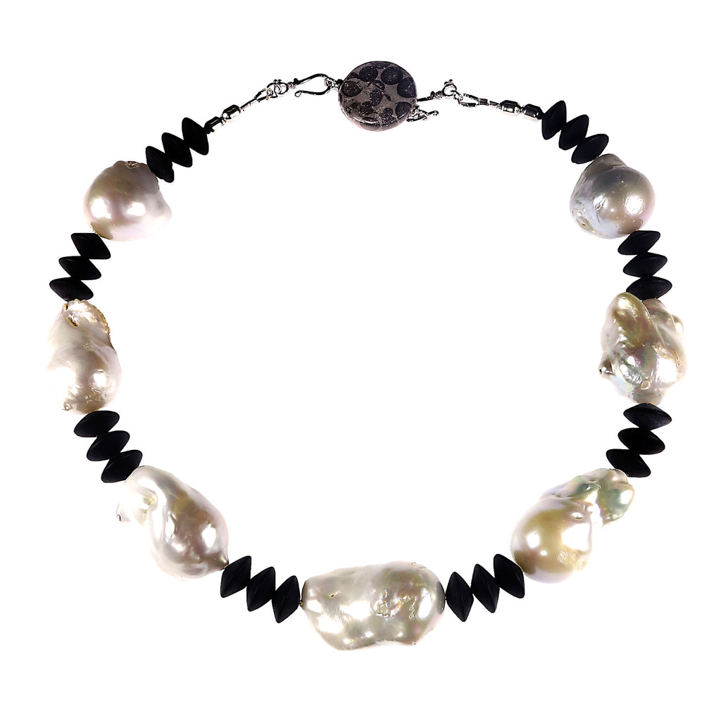 Gemjunky Glorious White Baroque Pearls with Matte Onyx Black Rondelles Necklace
