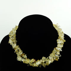 Gemjunky  Highly Polished Citrine Chip 32 inch Infinity Necklace