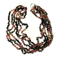Gemjunky  Three 34 Inch Circles of Multi color Tourmaline Chips Necklace