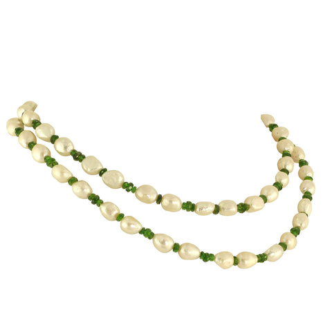 Gemjunky 33 Inch Necklace of White Pearls and Green Chrome Diopside