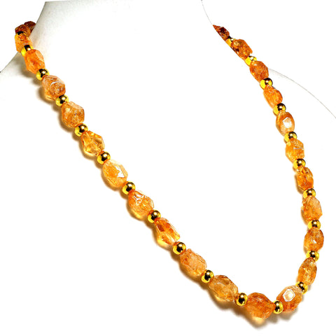 Gemjunky 26 Inch Chunky Citrine Nuggets with Goldy Accents Necklace