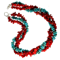 Gemjunky 21 Inch Triple strand necklace of Southwest Style Red Coral and Hubei Turquoise