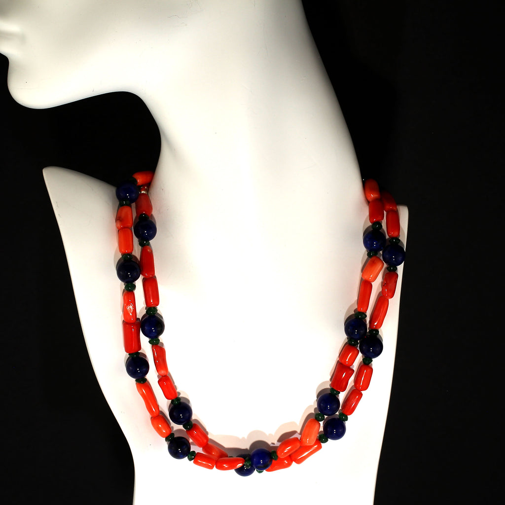 Gemjunky Fun and funky Orange Coral, Jade, and Aventurine Necklace