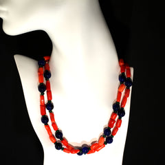 Fun and funky Orange Coral, Jade, and Aventurine Necklace