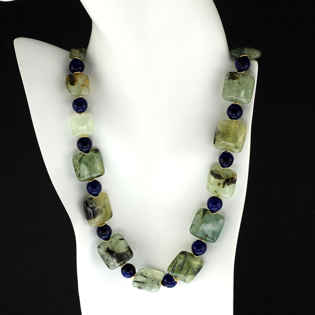 Gemjunky 24 Inch Glowing Green Prehnite with Blue Agate Necklace