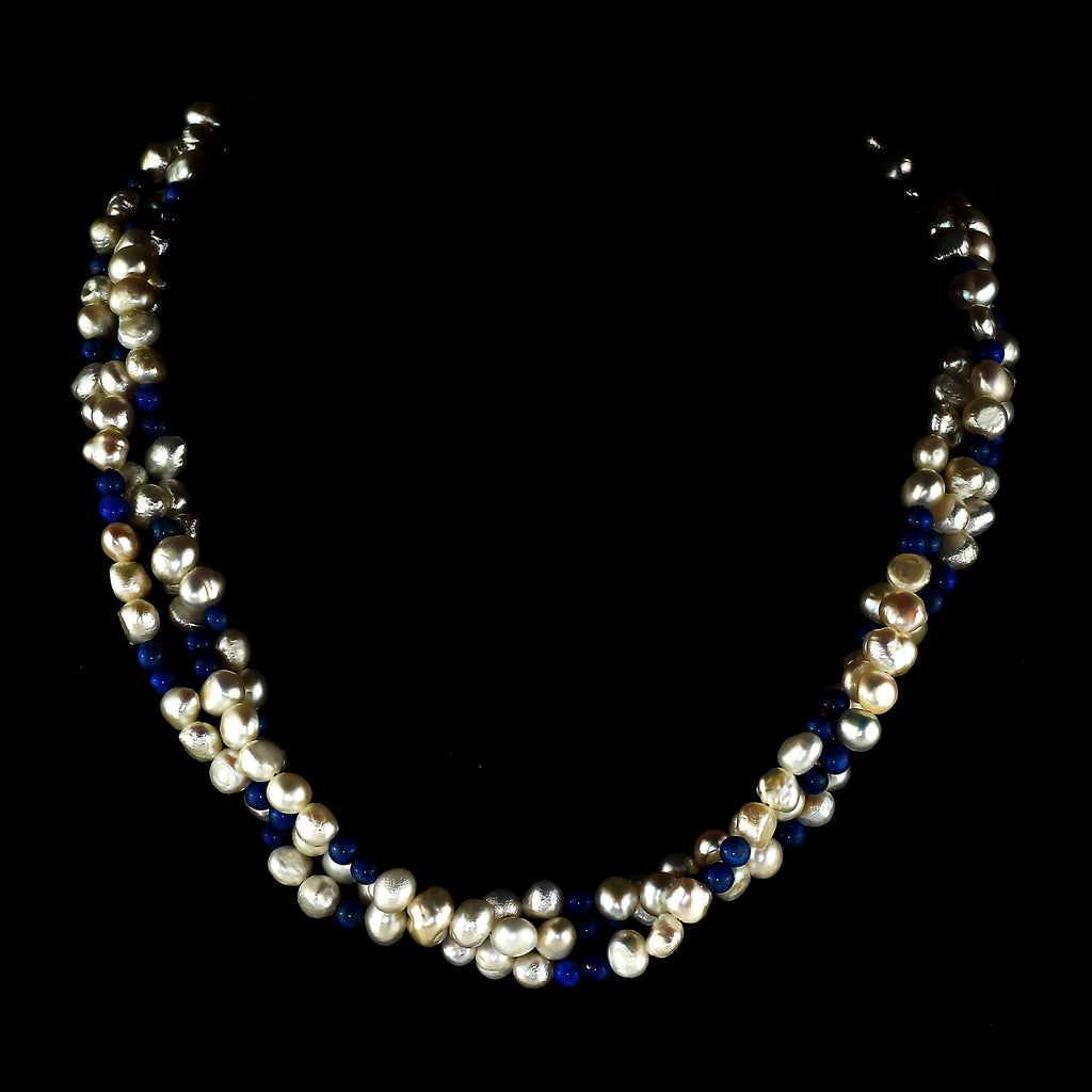 Gemjunky Delicate Three strand necklace of Iridescent White Pearls and Lapis Lazuli