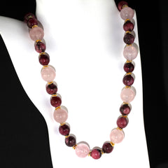 Elegant necklace of highly polished Rhodonite and Rose Quartz