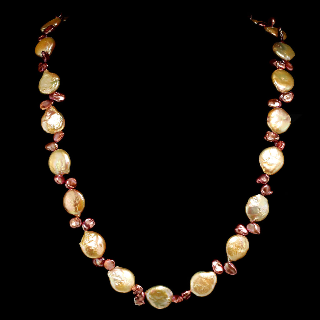 Gemjunky 27 Inch Peachy Coin Pearl and Mauve Briolette Pearl Necklace