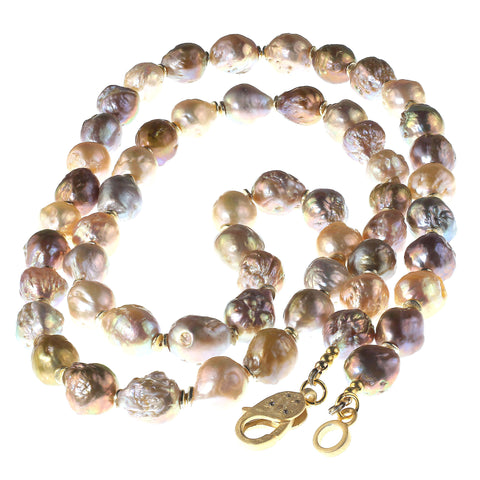 Gemjunky 35 Inch Natural Color Multi tone Baroque Pearl Necklace