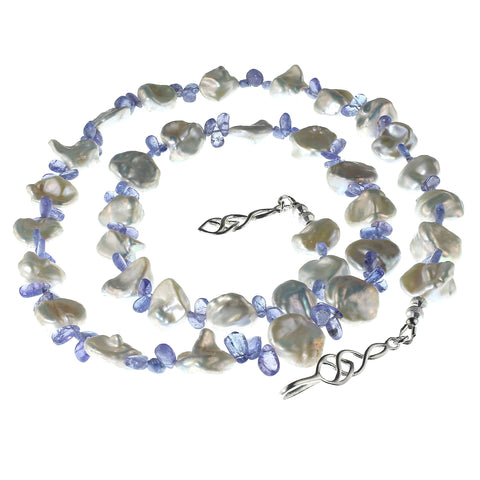 Gemjunky 27 Inch necklace of Glowing White Keshi Pearls and Sparkling Purple Tanzanite briolettes