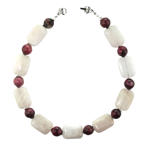 Gemjunky Summer fun in Rose Quartz and Rhodonite 16 inch choker necklace