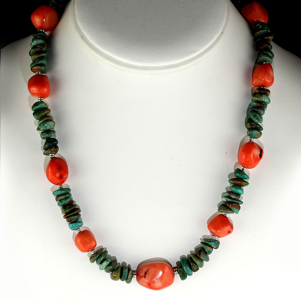 Gemjunky Southwest style fun and fashionable Turquoise and Peach Coral Necklace