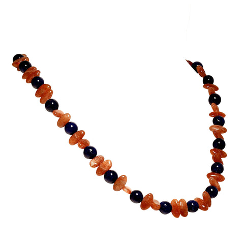 Gemjunky Necklace of Fascinating Oval Glittering Sunstone and Blue Agate