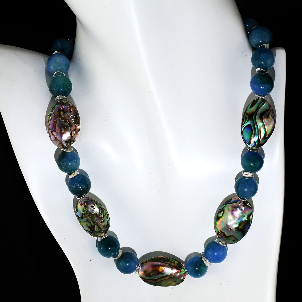 Gemjunky Romantic Iridescent Paua Shell and Teal Colored Agate Necklace with Silver Accents
