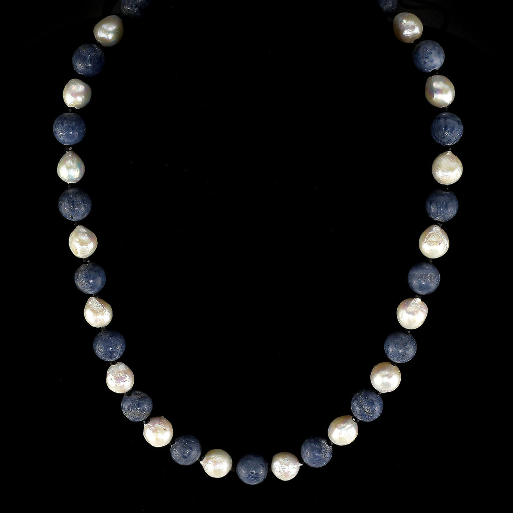 Gemjunky Highly Polished Blue Coral and White Wrinkle Pearl Necklace