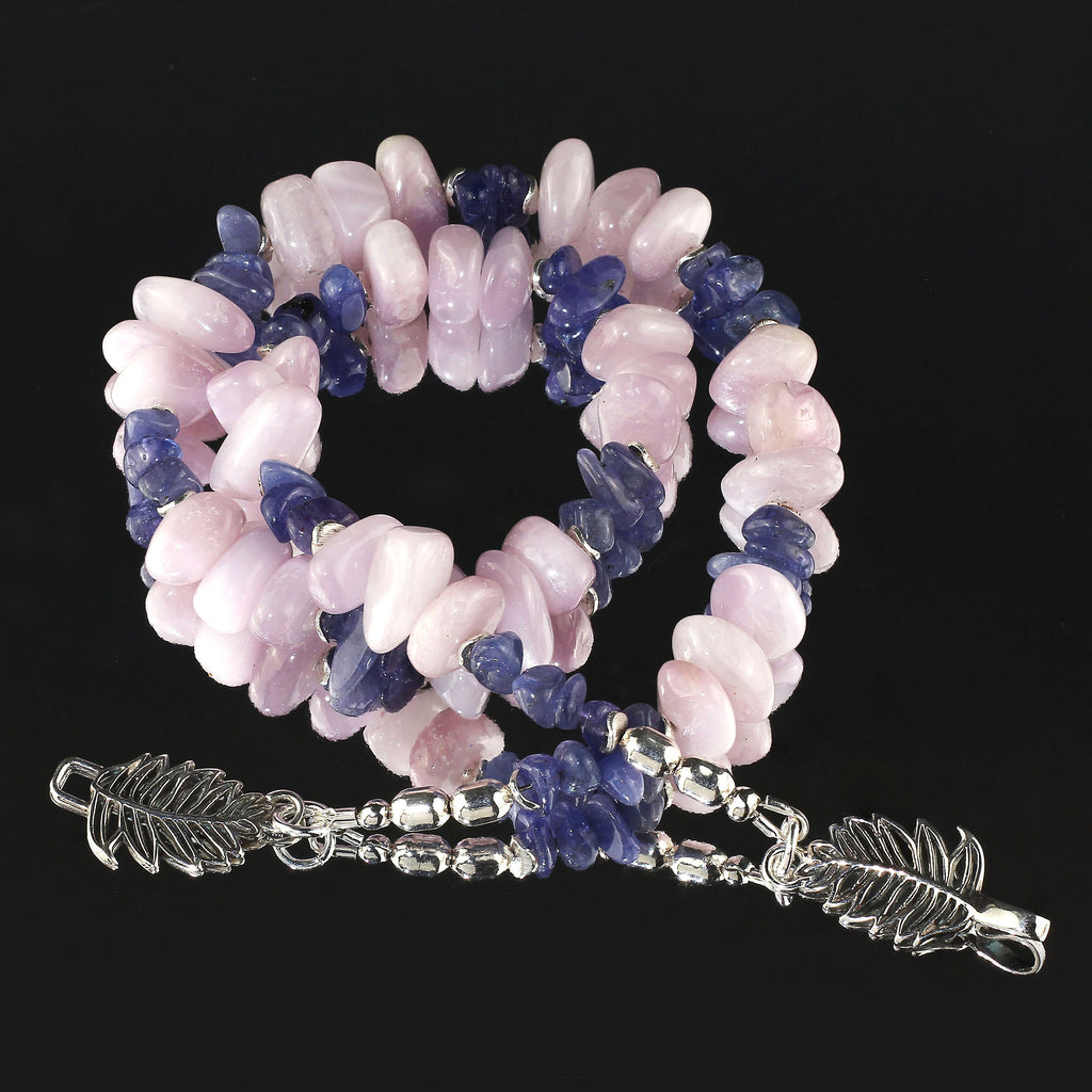 Gemjunky Summertime Fun Unique and fascinating  Kunzite and Tanzanite necklace