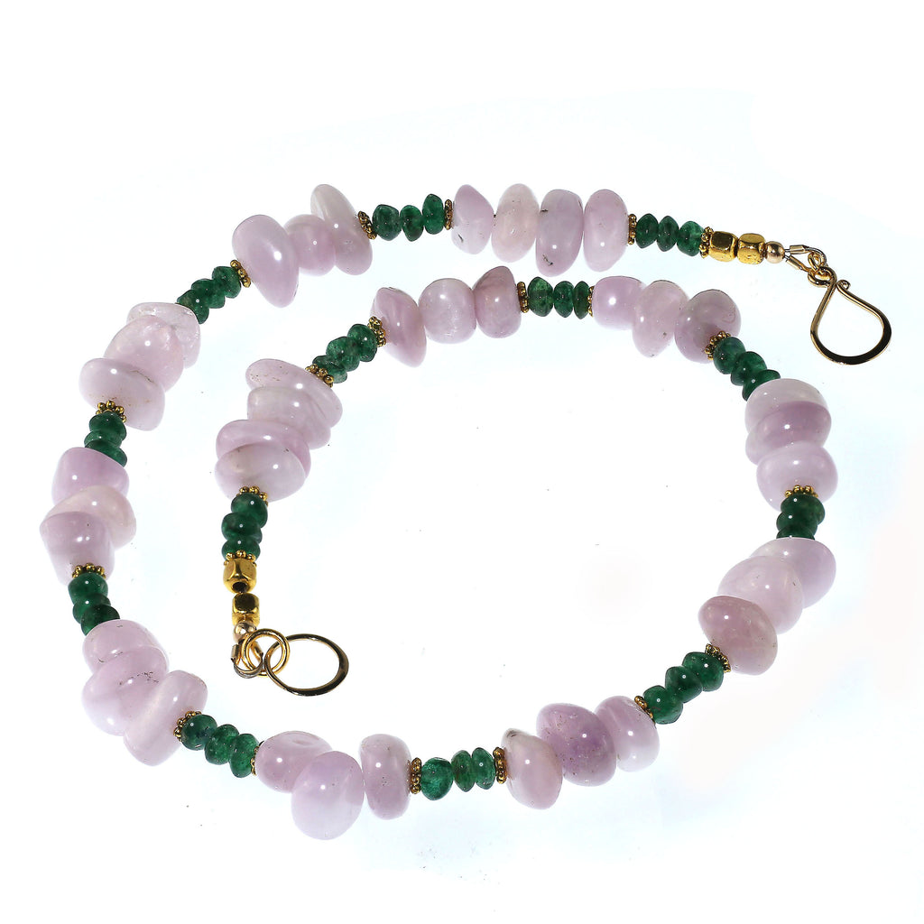 Gemjunky Glowing Kunzite and Aventurine 17 Inch Necklace for Summer fun