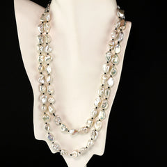 Gemjunky Gorgeous Two strand Silvery Iridescent Keshi Pearl Necklace