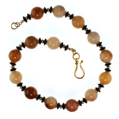 Gemjunky Statement Necklace in Shades of Golden Jade Black Tourmaline with golden accents