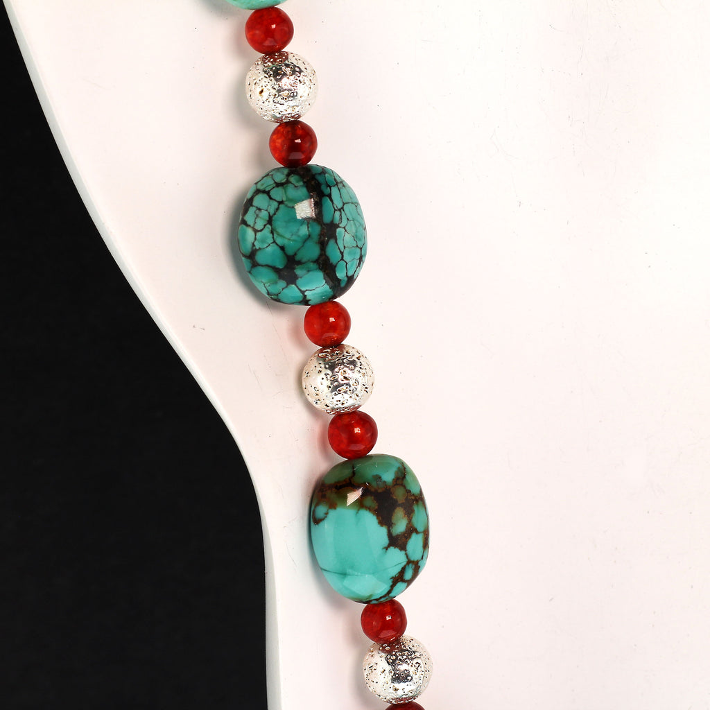 Southwest Influence necklace of Turquoise, Carnelian, and Silver by Gemjunky